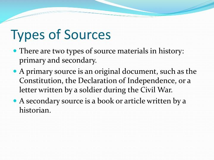 Types of sources