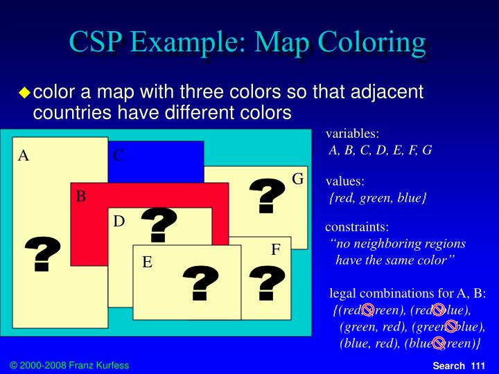 CSP Example: Map Coloring