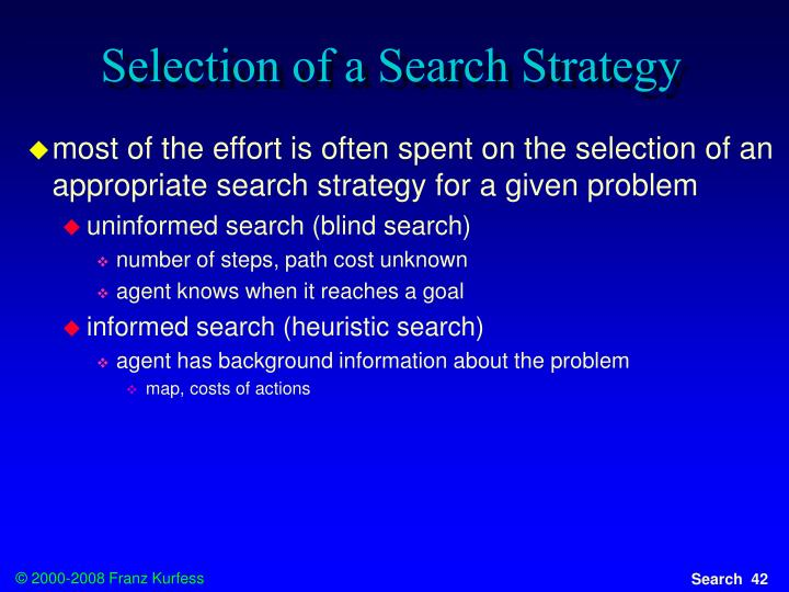 Selection of a Search Strategy
