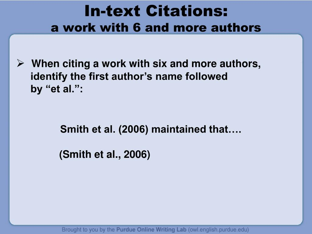 in-text-citations-a-work-with-6-and-more-authors-l Owl Purdue Le Page Mla Format Example on case study, writing lab, for citing video, many authors, for website citation, sample pdf, annotated bibliography,
