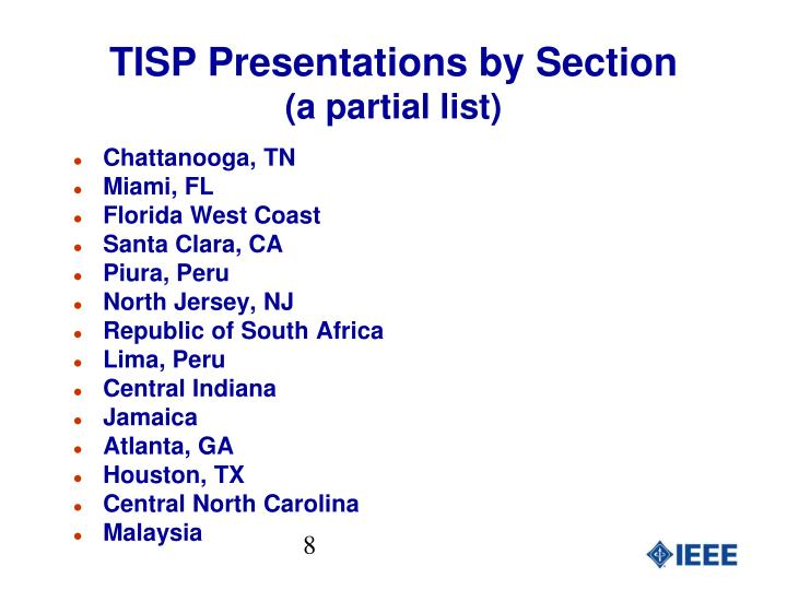 TISP Presentations by Section
