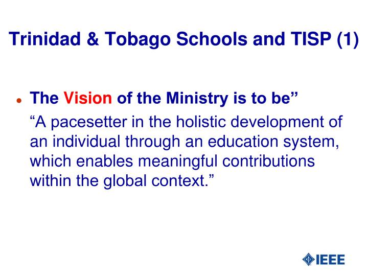 Trinidad & Tobago Schools and TISP (1)
