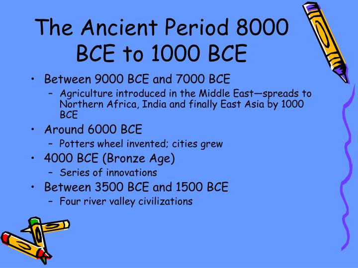 The Ancient Period 8000 BCE to 1000 BCE