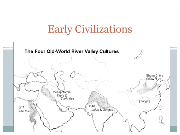 the four river valleys Nile river civilization the first civilization located off of the nile river, started the egyptian empire and cities.