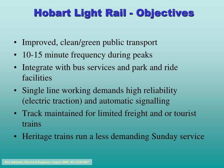 hobart light rail objectives n.