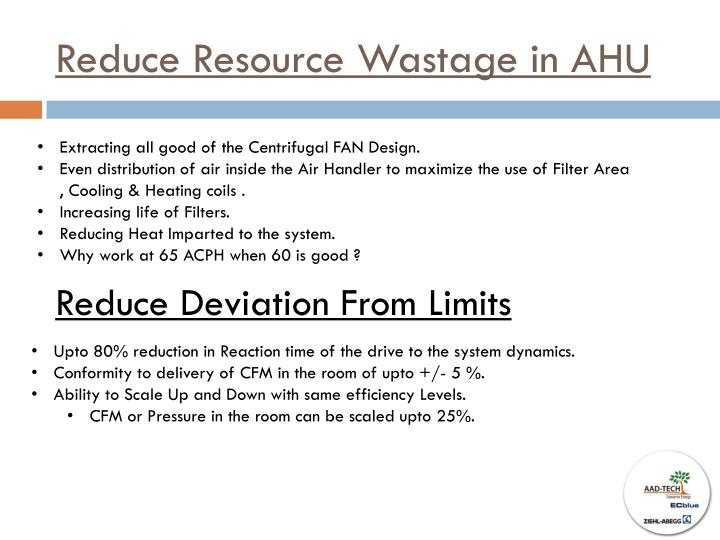 Reduce Resource Wastage in AHU