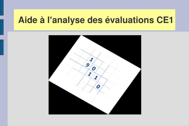 Aide à l'analyse des évaluations CE1