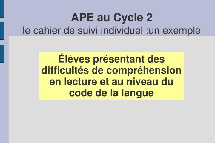 APE au Cycle 2