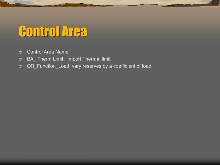 Control Area Name