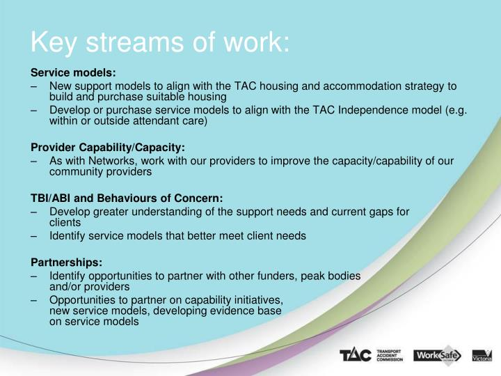 Key streams of work:
