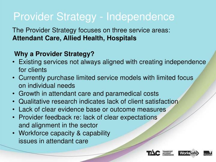 Provider Strategy - Independence