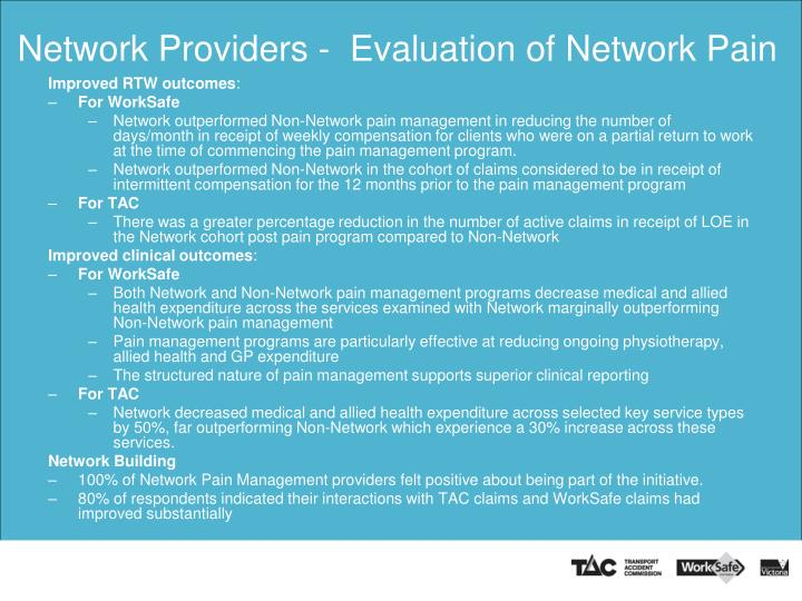 Network Providers -  Evaluation of Network Pain