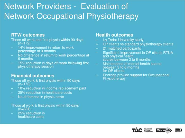 Network Providers -  Evaluation of