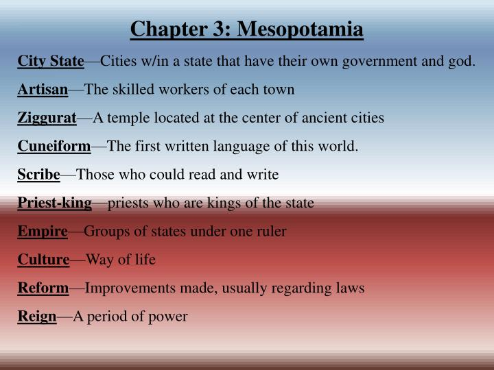 Chapter 3: Mesopotamia