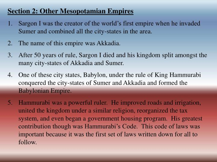 Section 2: Other Mesopotamian Empires