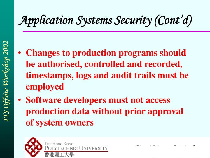 Application Systems Security (Cont'd)