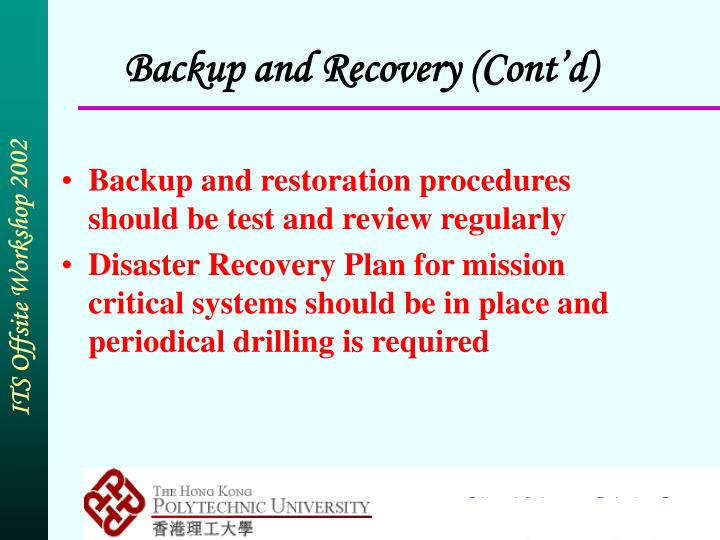 Backup and Recovery (Cont'd)