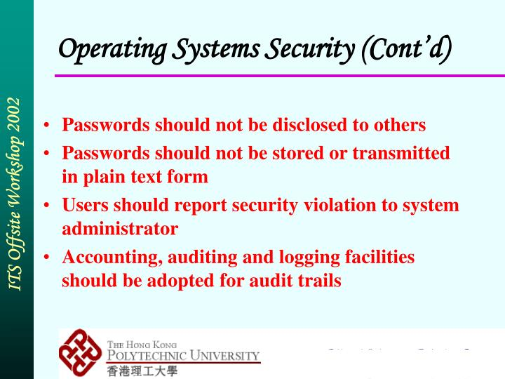 Operating Systems Security (Cont'd)