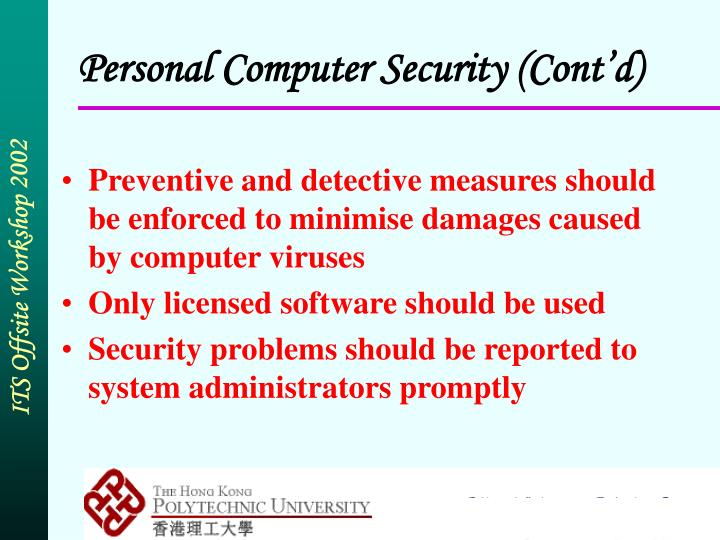Personal Computer Security (Cont'd)