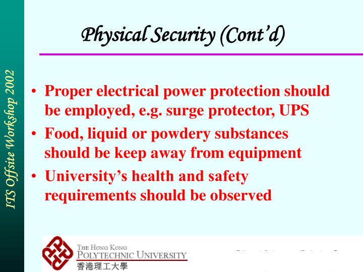Physical Security (Cont'd)