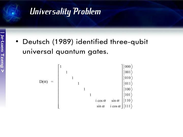 Universality Problem