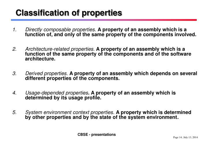 Classification of properties