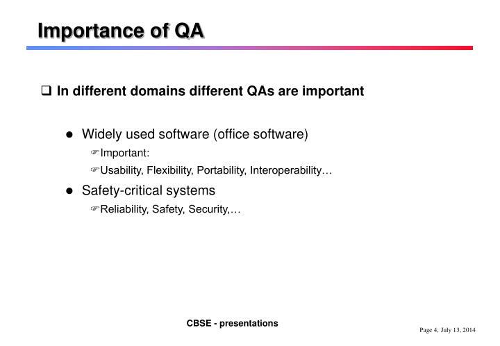 Importance of QA