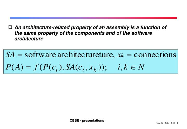 An architecture-related property of an assembly is a function of the same property of the components and of the software architecture