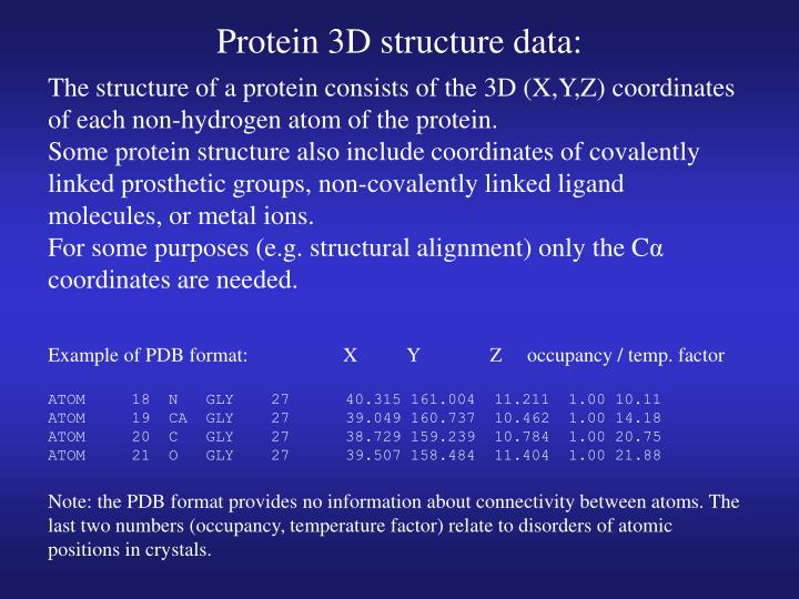 Protein 3D structure data: