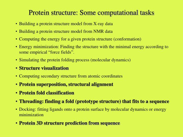 Protein structure: Some computational tasks