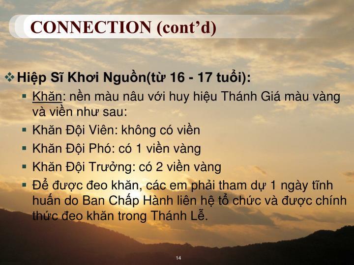 CONNECTION (cont'd)
