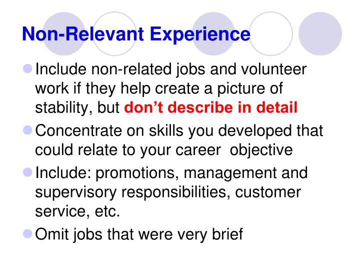 How To Show Non Relevant Experience In Resume