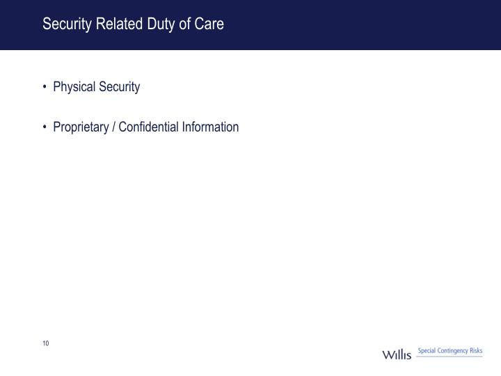 Security Related Duty of Care