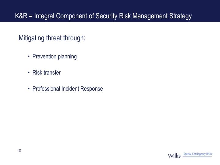 K&R = Integral Component of Security Risk Management Strategy