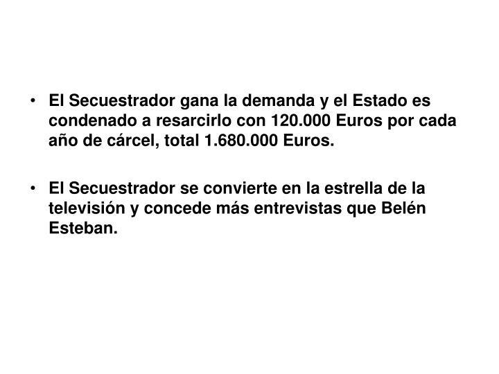 El Secuestrador gana la demanda y el Estado es condenado a resarcirlo con 120.000 Euros por cada año de cárcel, total 1.680.000 Euros.
