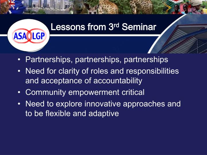 Lessons from 3 rd seminar