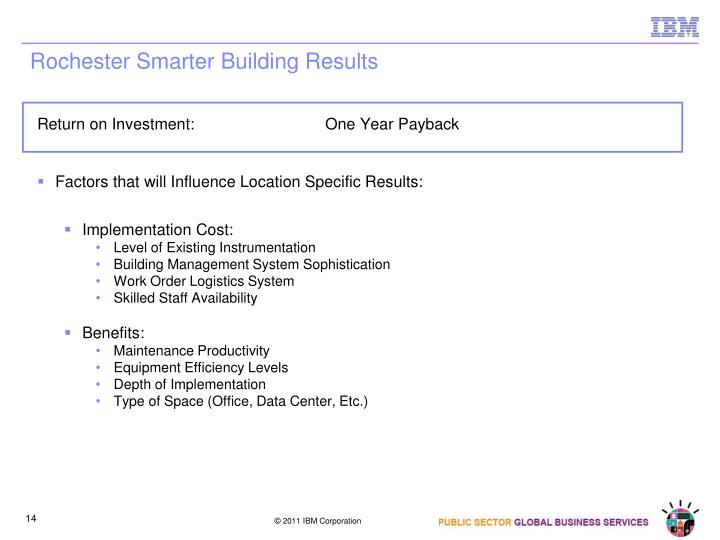 Rochester Smarter Building Results