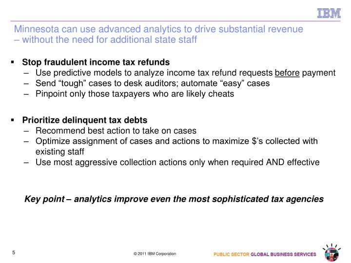 Minnesota can use advanced analytics to drive substantial revenue – without the need for additional state staff