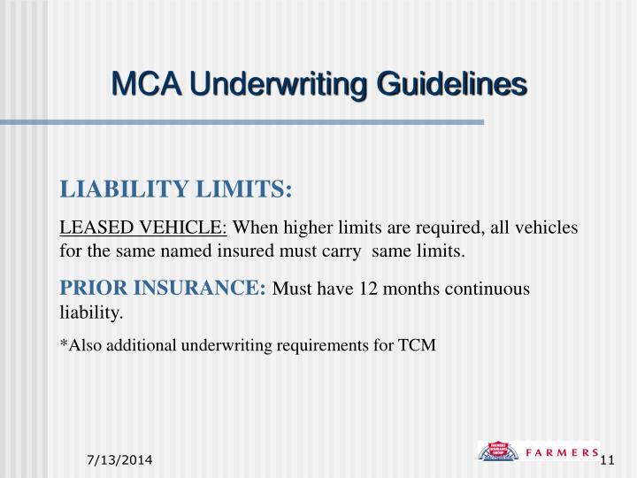 MCA Underwriting Guidelines
