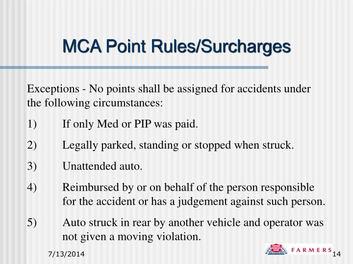 MCA Point Rules/Surcharges