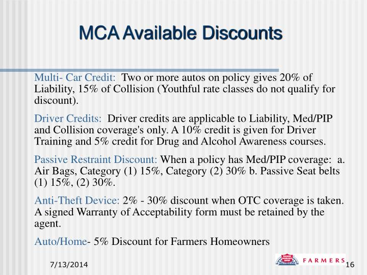 MCA Available Discounts