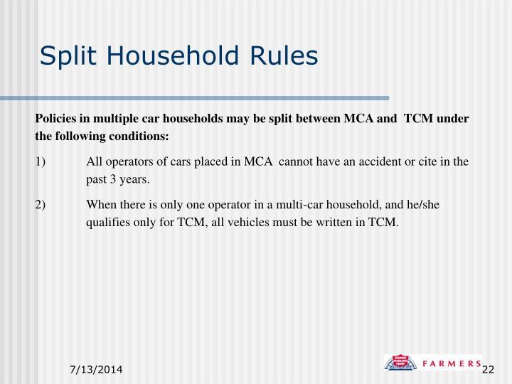 Split Household Rules