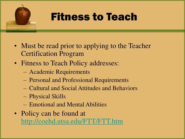 Fitness to teach