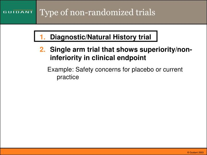 Type of non randomized trials