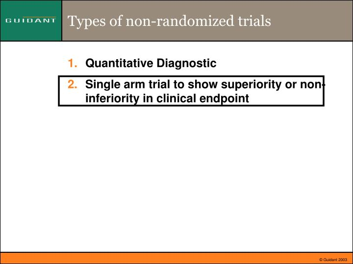 Types of non-randomized trials