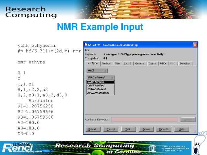 NMR Example Input