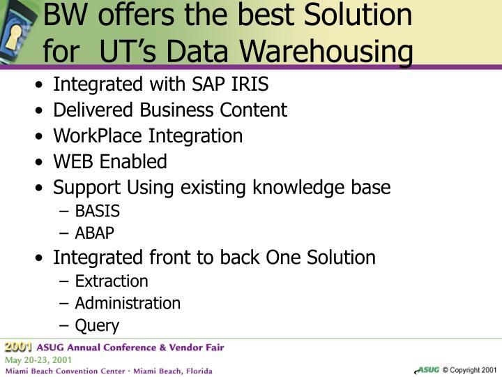 BW offers the best Solution for  UT's Data Warehousing