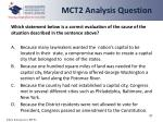 mct2 analysis question