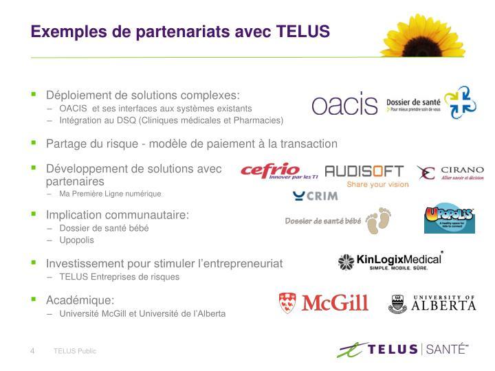 Exemples de partenariats avec TELUS