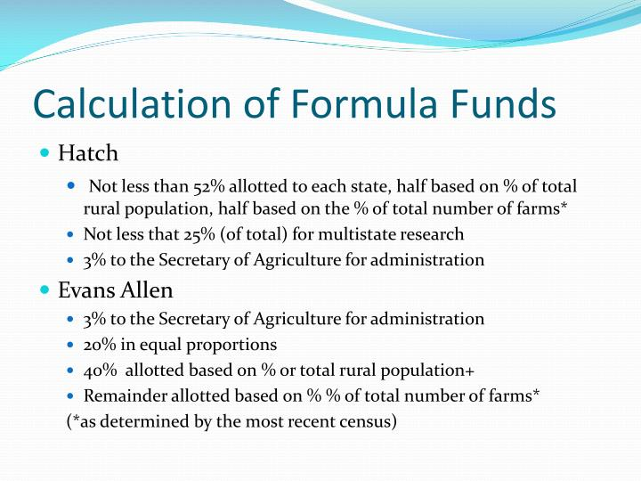 Calculation of Formula Funds